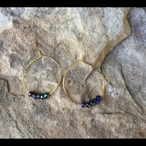 Thin Gold Hoops with Multicolor Beads
